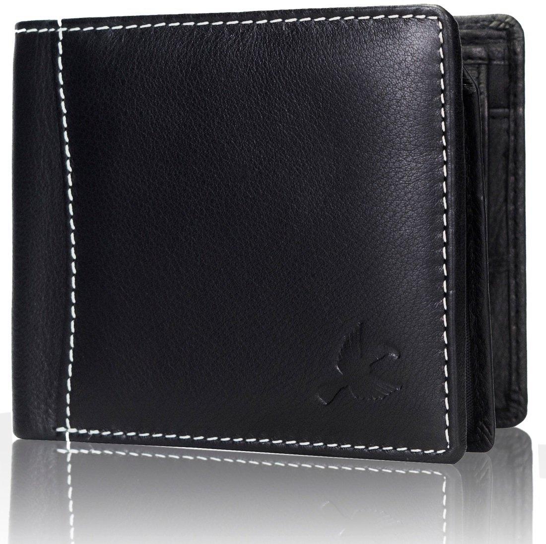 Hornbull Men's Themes Geuine Leather RFID Wallet (Black)