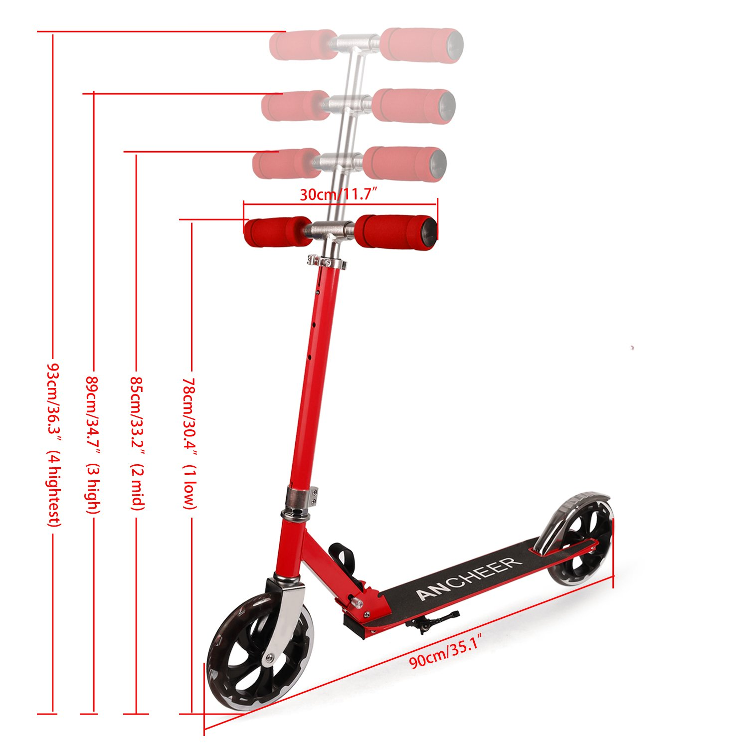 Coorun Big Wheel Scooter Roller 205 - Patinete plegable de ...
