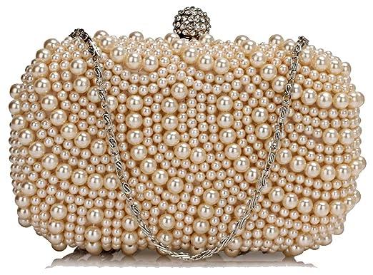 Stunning Luxury Cream Nude Beaded Pearl Rhinestone Clutch Bag  57b8d57a67db