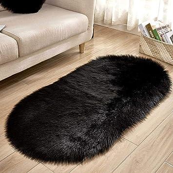 IBaste Tapis Salon Laine Dimitation Ovale 60 X 120 Cm Moquette Fluffy