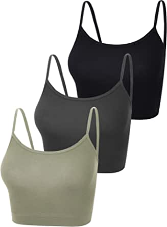 Boao 3 Pieces Spaghetti Strap Tank Adjustable Camisole Top Crop Tank Top for Sports Yoga Sleeping