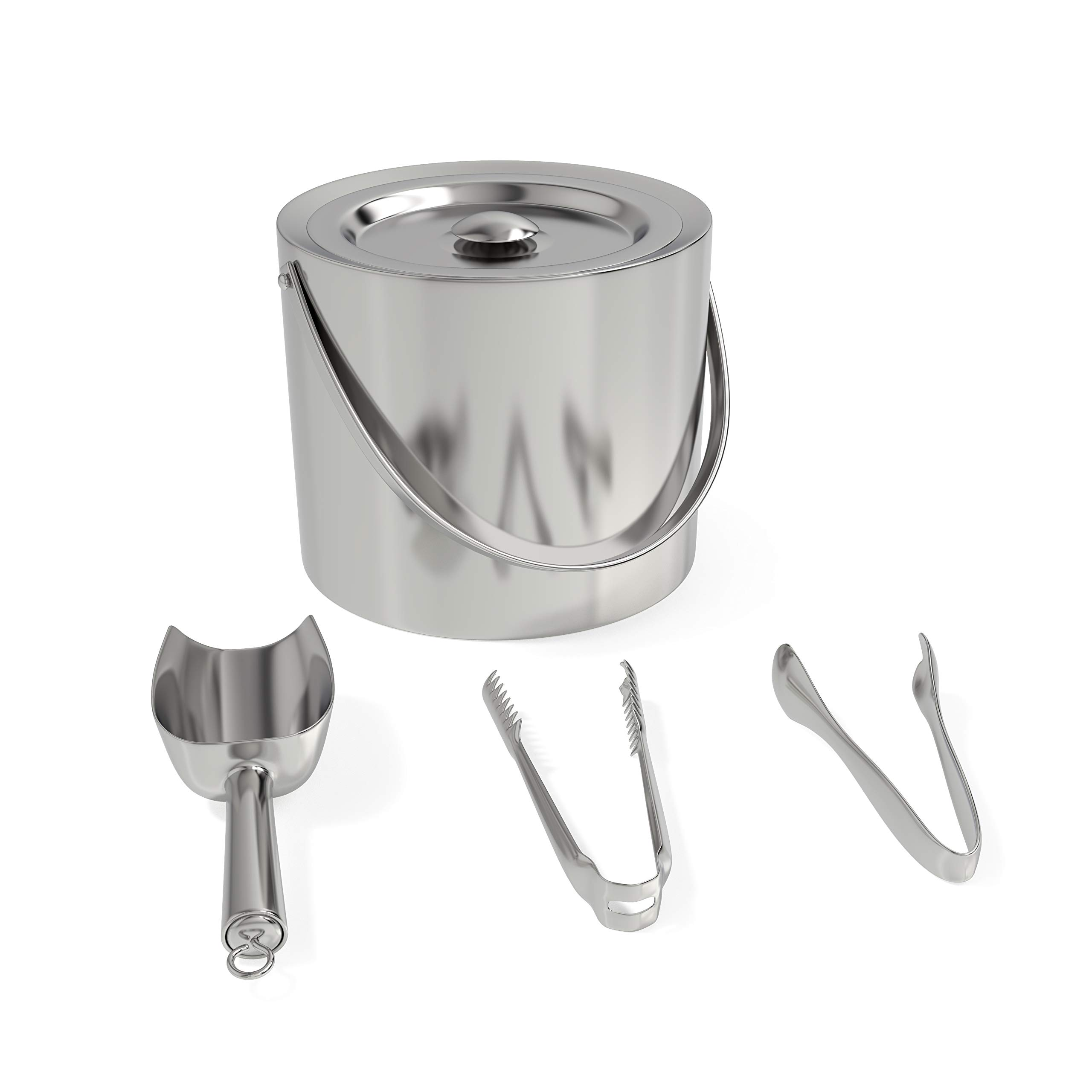Classy Pantry Stainless Steel Ice Bucket with Tongs and a Scoop by Classy Pantry