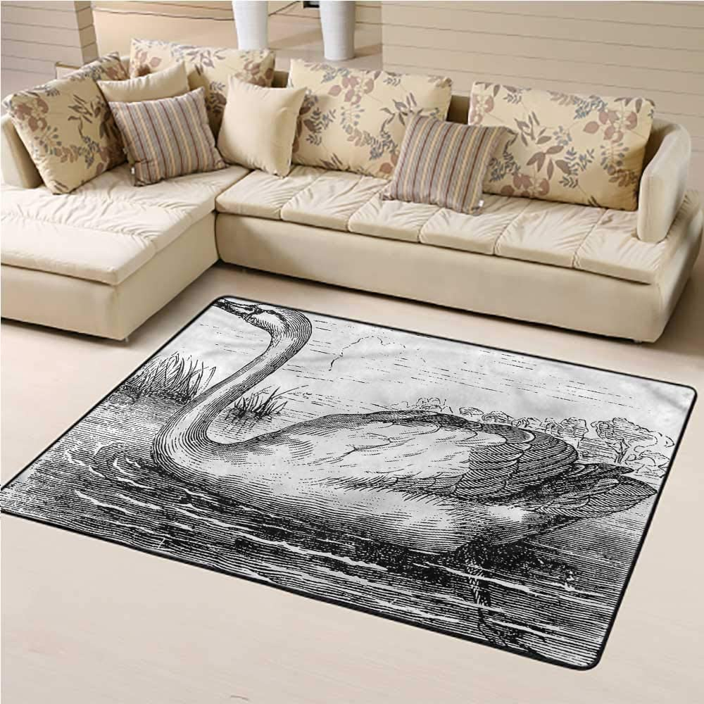 Rectangle-Rug-With-Hand-Drawn-Swan-Design-For-Living-Rooms