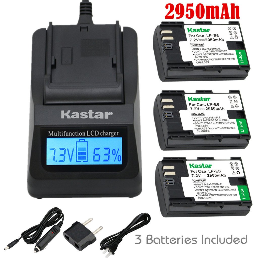Kastar Fast Charger and Battery 3x for Canon LP-E6 LP-E6N, EOS 60D 60Da EOS 70D XC10, EOS 5D Mark II 5D Mark III 5D Mark IV, EOS 5DS 5DS R, EOS 6D 7D Mark II, BG-E14 BG-E13 BG-E11 BG-E9 BG-E7 BG-E6