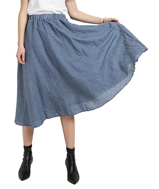 fc486147d Chartou Women's Plain Stretchy Waist Jacquard Flowing Cotton-Blend Boho Midi  Skirt (One Size