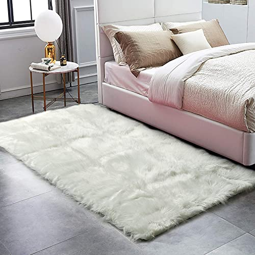 HAOCOO Faux Fur Sheepskin Rug White Shag Chair Coach Covers 4 x 5.3 Fluffy Wool Area Rug Large Soft Kids Play Mat Rectangle Floor Carpet