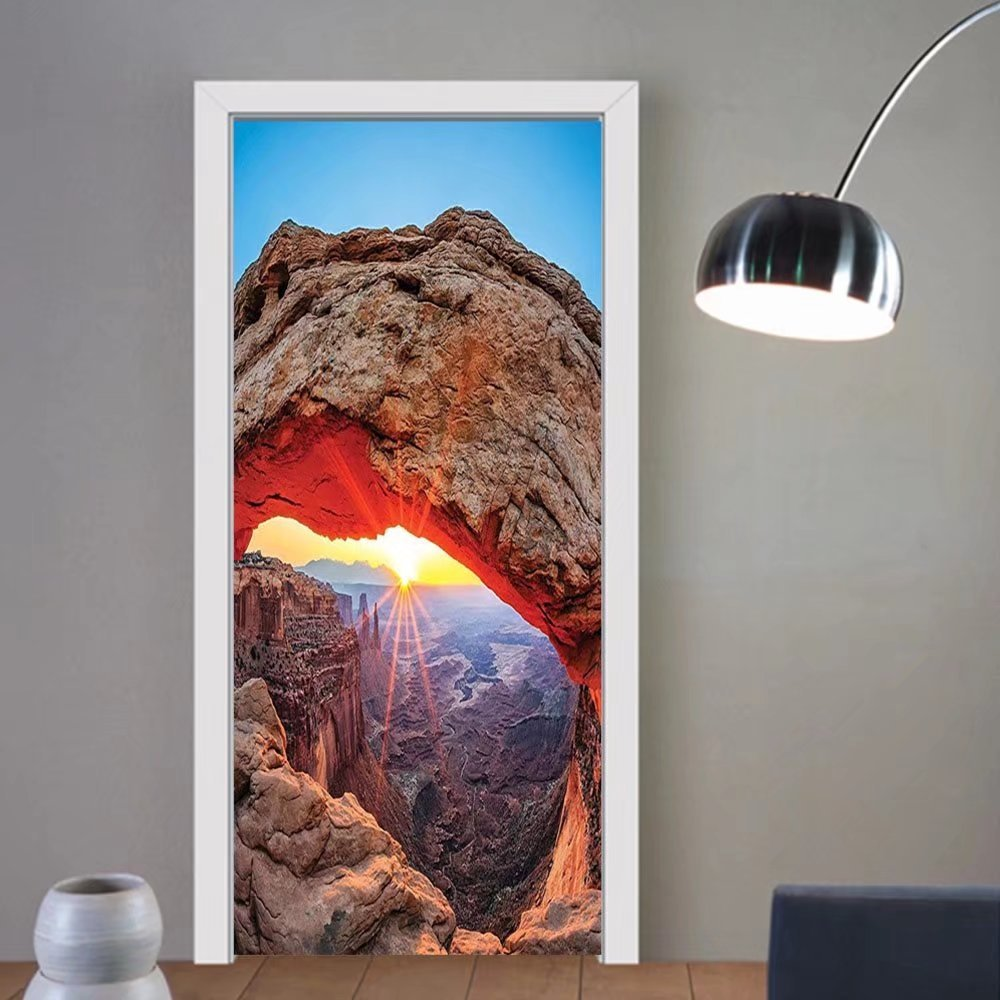 Gzhihine custom made 3d door stickers Room Famous Sunrise at Mesa Arch in CanyonlaUIF National Park Utah USA Landmark For Room Decor 30x79