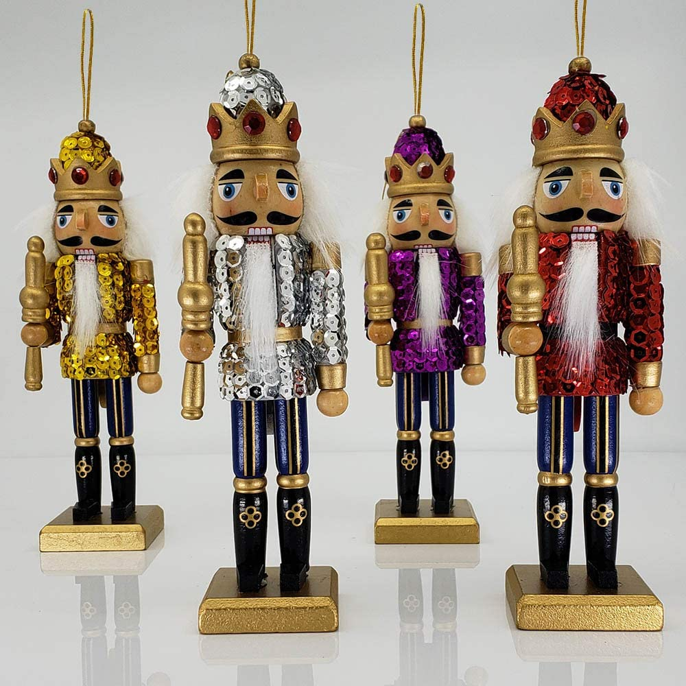 Christmas Nutcracker Soldier Ornaments Glitz Sequin Jackets And Sparkle Rhinestones Wood 8 Inch Set Of 4 Home Kitchen