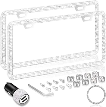 Stainless Steel Thin Border White Diamond Car Plate Frames with Anti Theft Screw Caps Sanhao Bling Rhinestone License Plate Frame