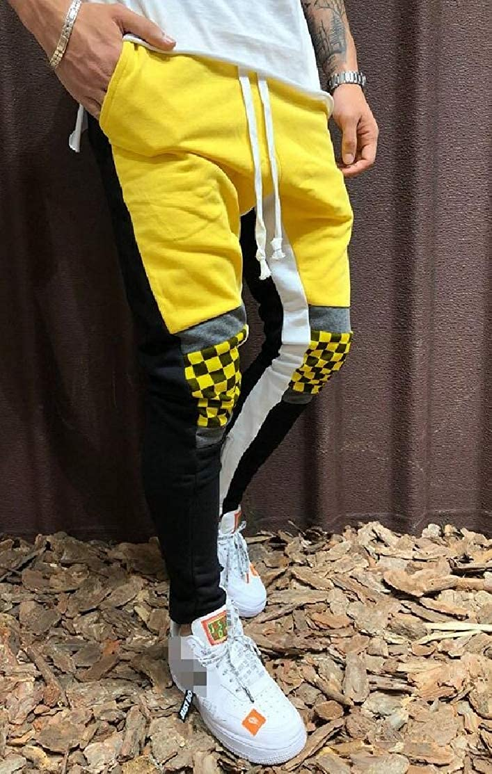 GLORYA Mens Sport Trousers Stitching Hip Hop Plaid Pants