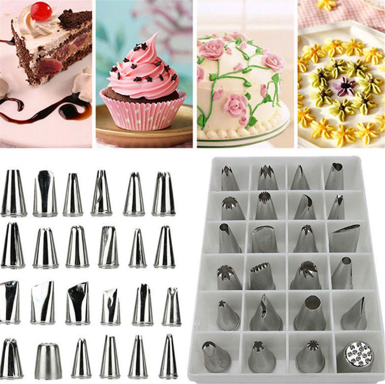 Cake Decorating Supplies 24 PCS Tips Stainless Steel +100 Disposable Bag Decoration Cream Pastry Cake (24 Cake Tips+100pcs Pastry Bag length10.2inch)