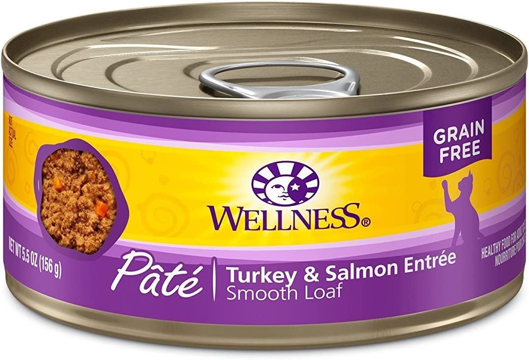 Wellness Canned Cat Food Turkey and Salmon Formula 5.5 oz (Pack of 6)