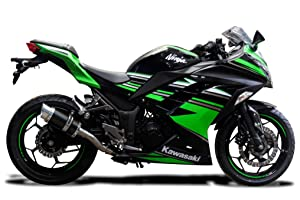 "Delkevic Full 2-1 compatible with Kawasaki Ninja 300 Mini 8"" Carbon Fiber Round Muffler Exhaust 13-17"