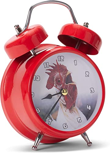 Mark Feldstein Associates Wacky Wakers Red Rooster Bedside Tabletop Alarm Sound Clock