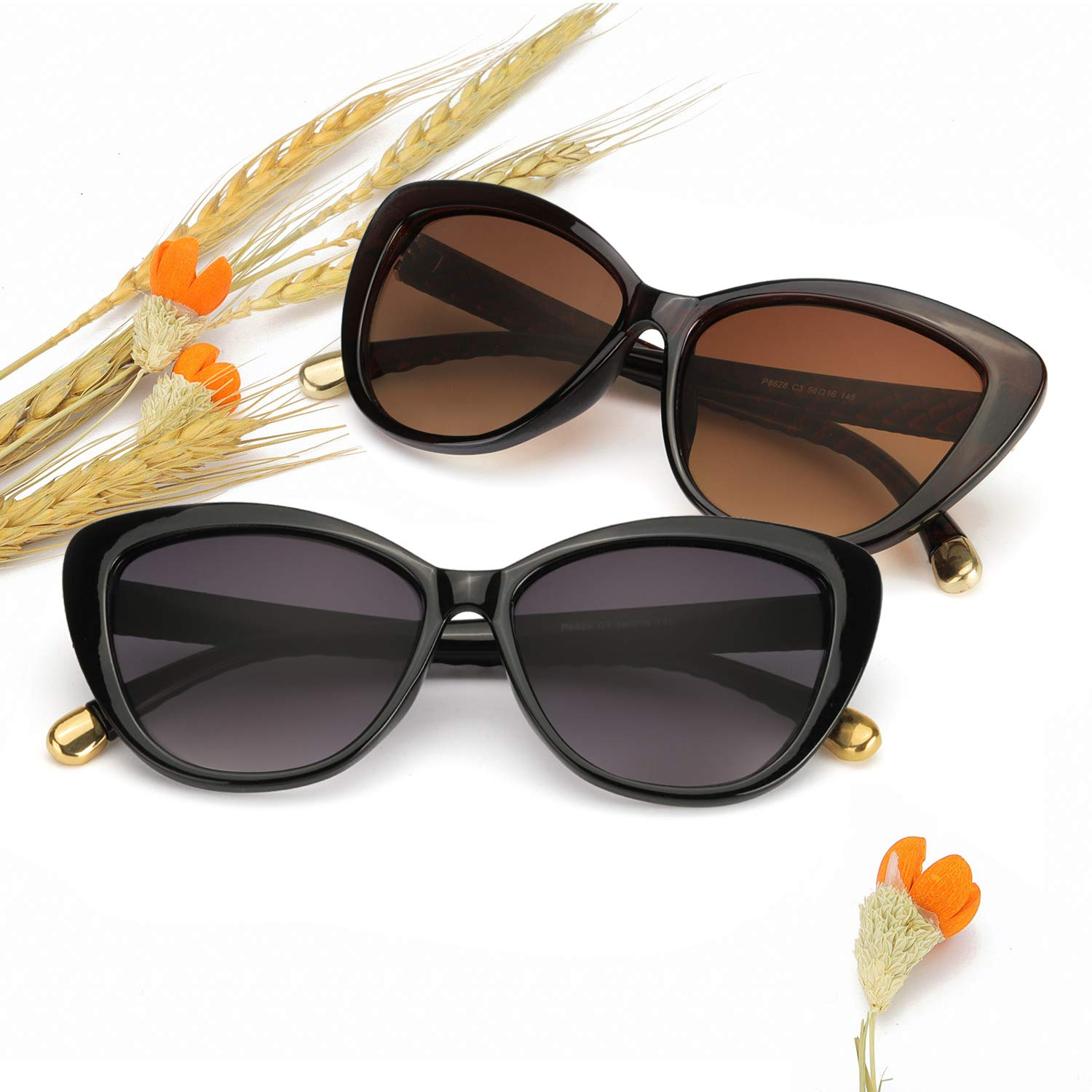 PdnIds Cateye Sunglasses for Women Polarized-Fashion Cat Eyes Frame with 100/% UV 400 Protection
