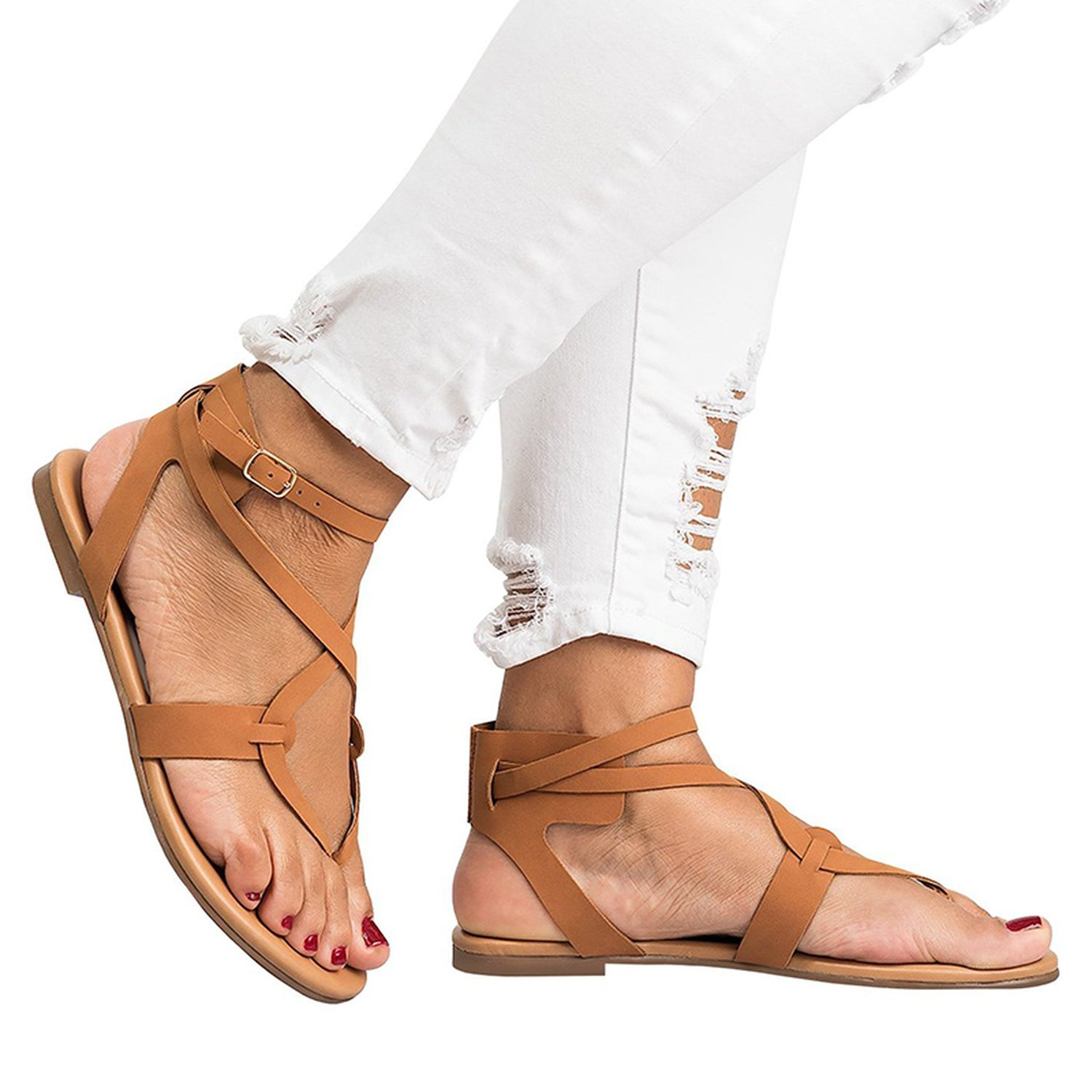 Romantic moments New Arrive Women Gladiator Sandals Summer Women Shoes Plus Size 35-43 Flats Sandals B07DLT1TMT 10 B(M) US|Brown