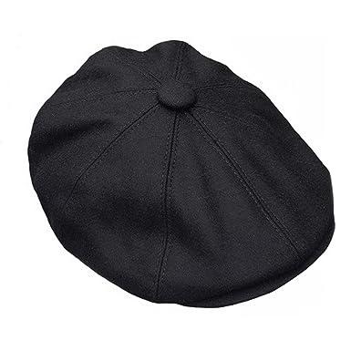 Great Horse G   H Wool Newsboy Cap - Black  Amazon.co.uk  Clothing aa7f0199a21b