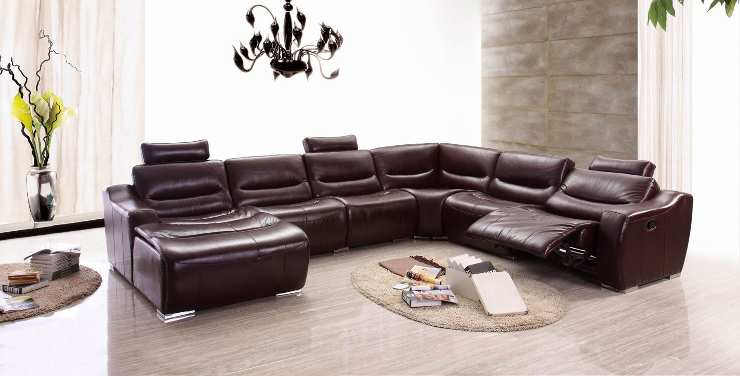 Amazoncom ESF Modern 2144 Brown Italian Leather Sectional Sofa W