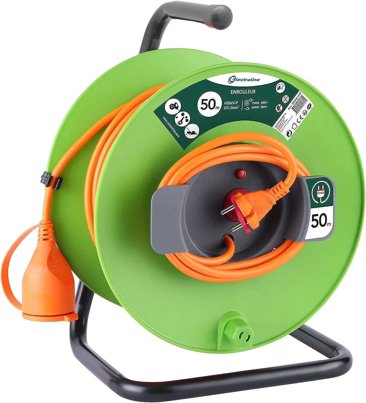 Electraline 20866138FG Rallonge Prolongateur Jard/ín 30 m avec enrouleur 16A Section 2x1,5 mm/² Orange//Vert