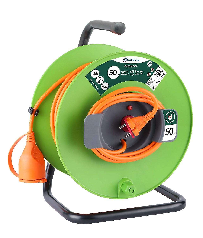 Electraline 20866139F - Enrollacables para jardín (50 m), color verde