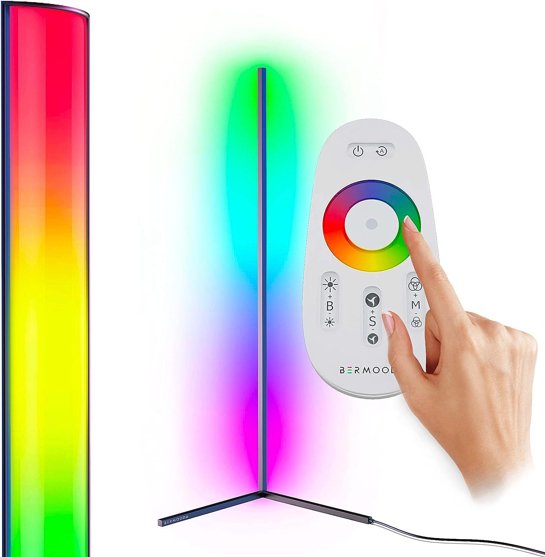 BERMOODA Corner Floor Lamp - Bright Minimal LED Corner Lamp with Mood Lighting - Modern Color Changing Lamp - RGB Floor Lamp with Remote - Premium LED Corner Light - Durable - Dimmable (Black)