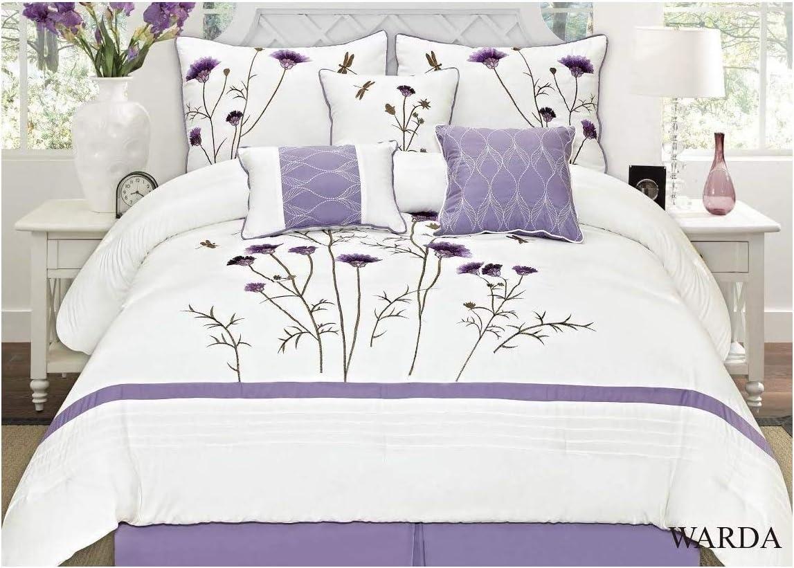 White Lavender Purple 7 Pcs Embroidery Comforter Set (King)