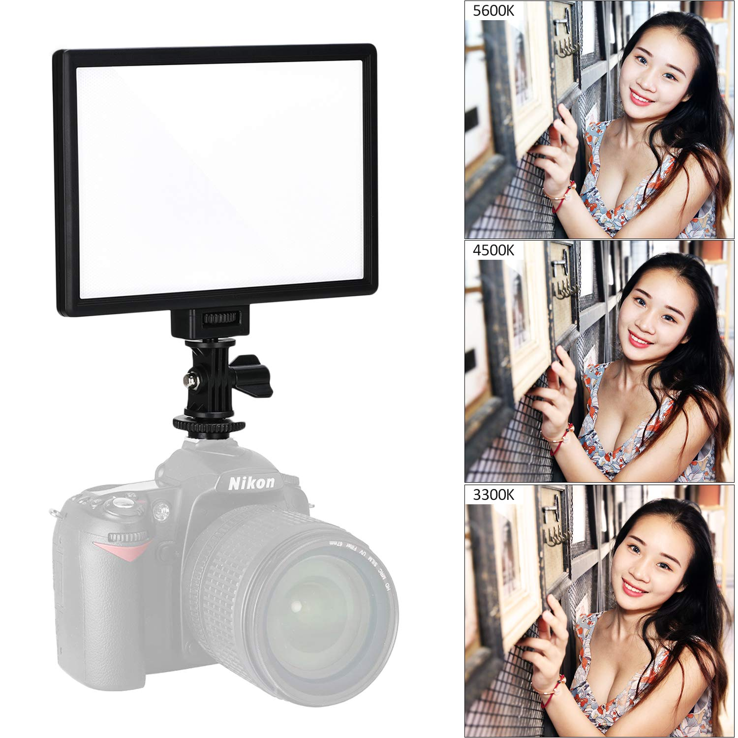 VILTROX L116T RA CRI95 Super Slim LED Light Panel,3300K-5600K LED Video Light, LCD Display Screen, with hot Shoe Ball Mount,Color Temperature and Brightness can be Adjusted JYC Technology (HK) Co. Ltd