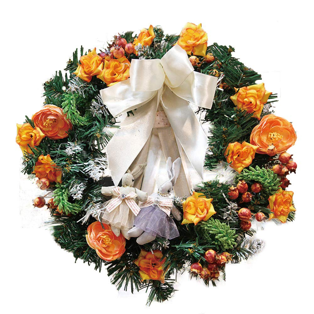 Baomabao 30cm Christmas Large Wreath Door Wall Ornament Garland Decoration White Bowknot