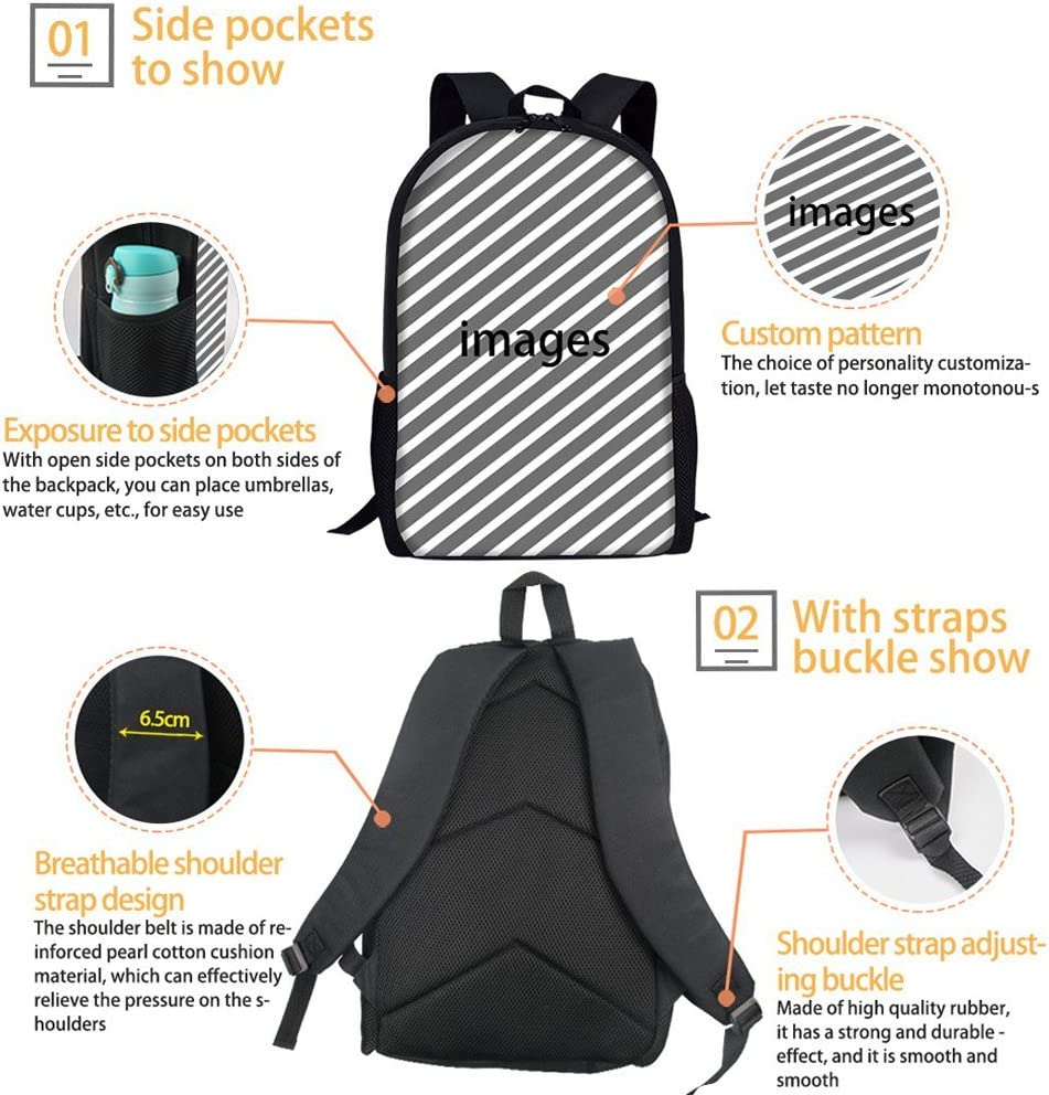 Basketball Print Backpack 17 inch Boys Daypack 3 Sets With Lunch Bag Pen Box