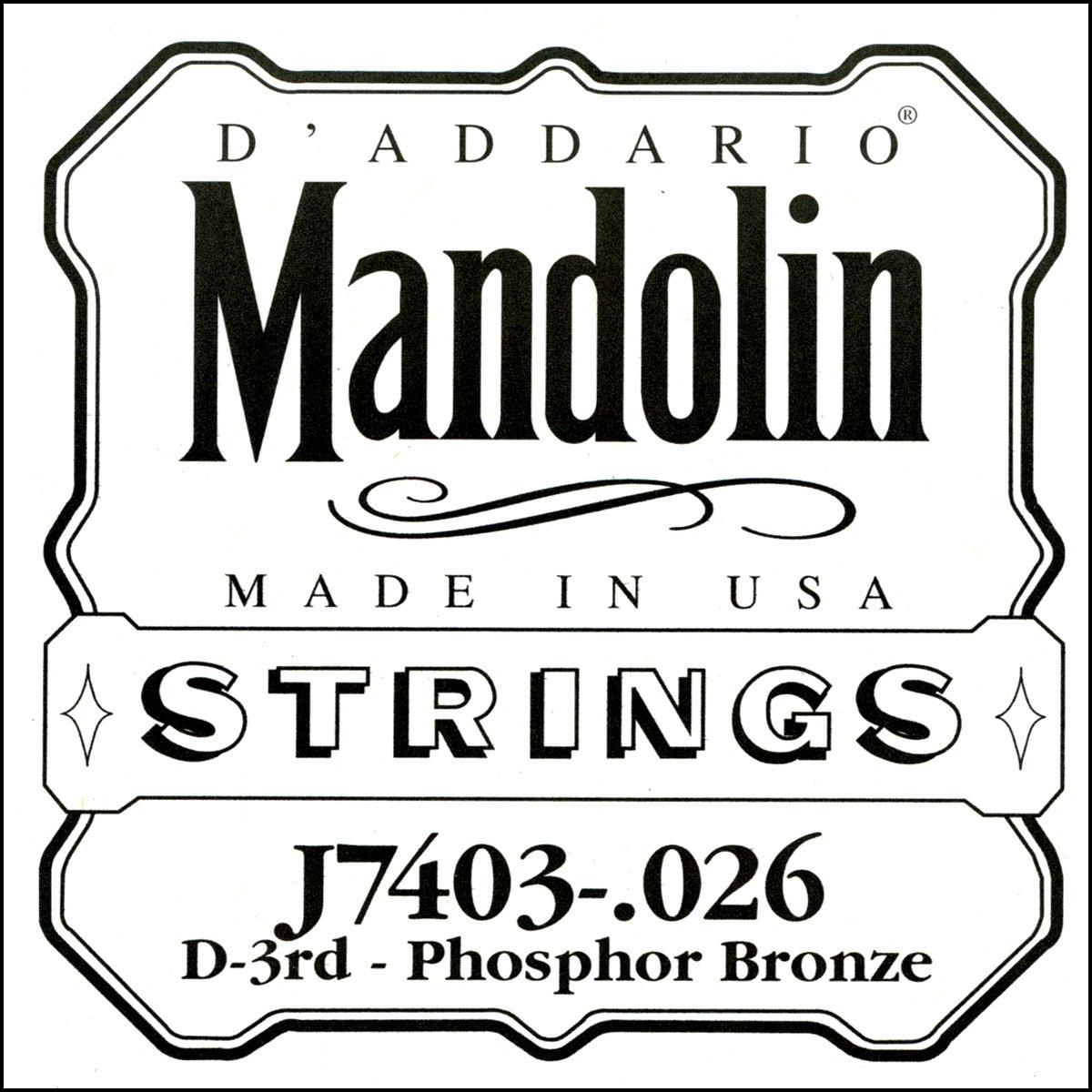 D'Addario J7403 Phosphor Bronze Mandolin Single String, Third String, .026