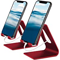 Vetoo Cell Phone Stand, 2 Pack Phone Dock: Cradle, Holder, Stand Compatible with All Android Smartphone, Phone 11 Pro Xs Xs Max Xr X 8 7 6 6s Plus 5 5s Charging, Accessories Desk (red)
