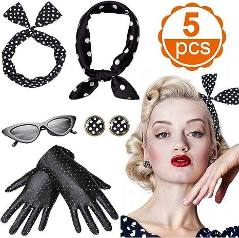 CoolBa Accesorios Disfraz mujer a/ños Incluye bufanda de estilo de lunares Pendientes de 50 puntos lunares Diadema Guantes Ojos de gato Gafas de sol Bufanda de gasa Accesorios de los Mujer a/ños 50
