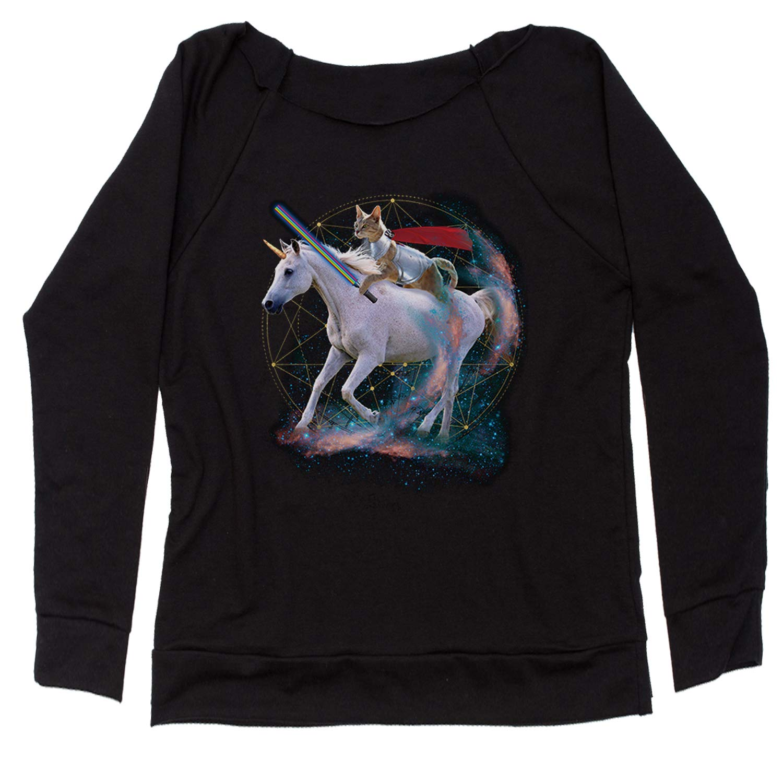 Expression Tees Cat Riding A Unicorn Off Shoulder Sweatshirt