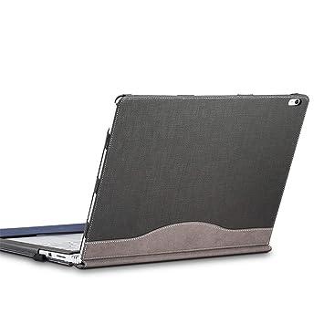 Estuche para laptop, Estuche Surface Book 2 13.5 pulgadas- Estuche de cuero PU premium de , atracción magnética desmontable, dos formas de uso, Gris