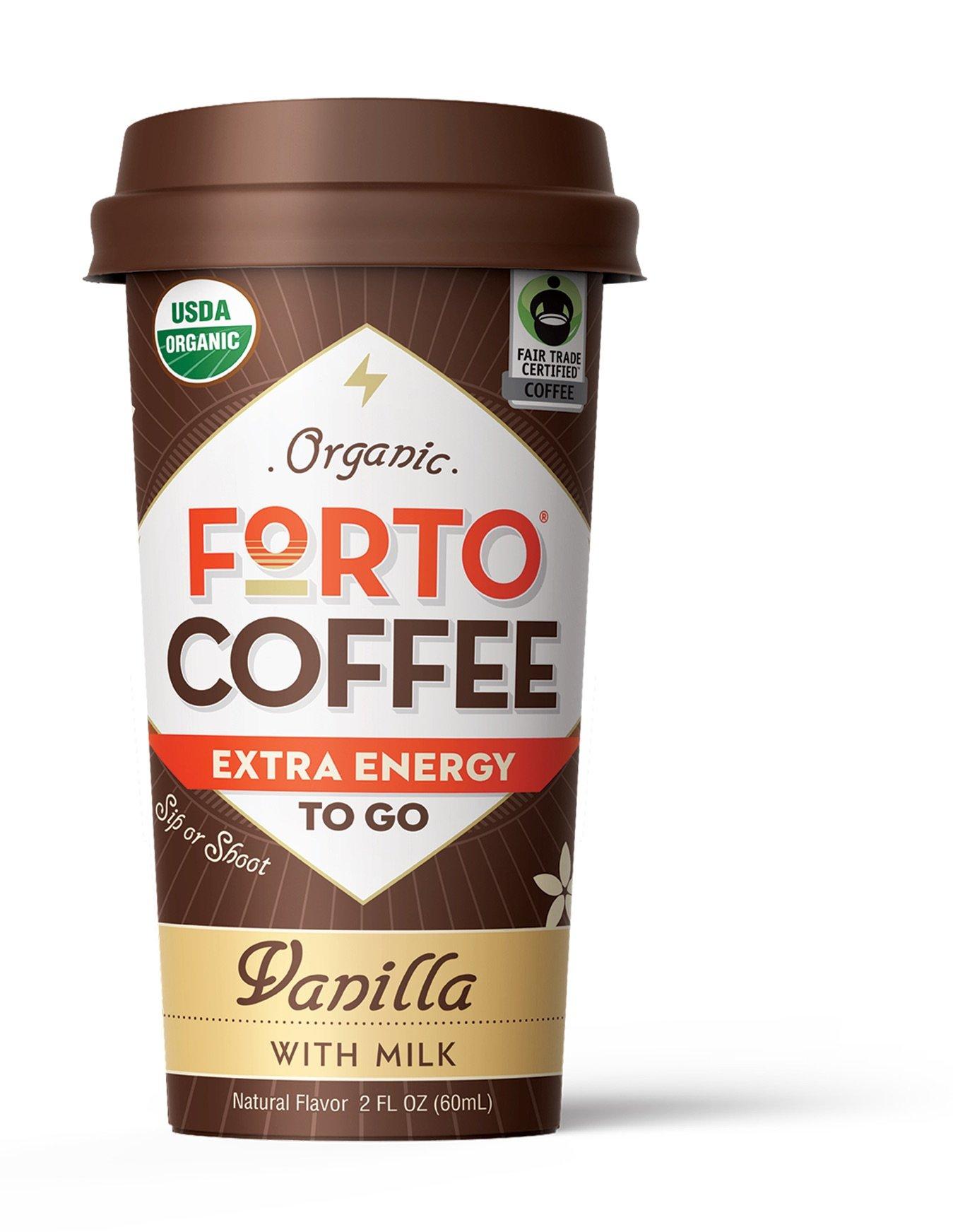 FORTO Organic Coffee Shot, Vanilla w. Organic Milk, Extra Energy, 200mg Caffeine, 6 count