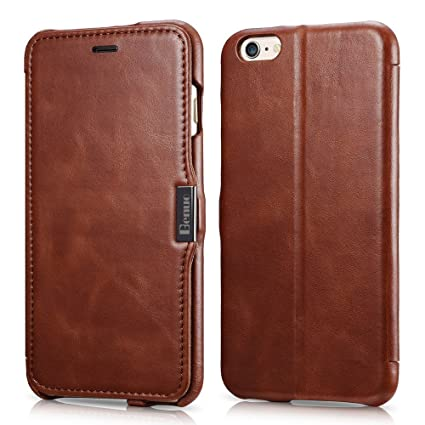 I Phone 6s Plus / 6 Plus Case, Benuo [Vintage Classic Series] Genuine Leather Folio Flip Corrected Grain Leather Case [Card Slot] [Stand Feature] With Magnetic Closure For 6 Plus / 6s Plus (Brown) by Benuo