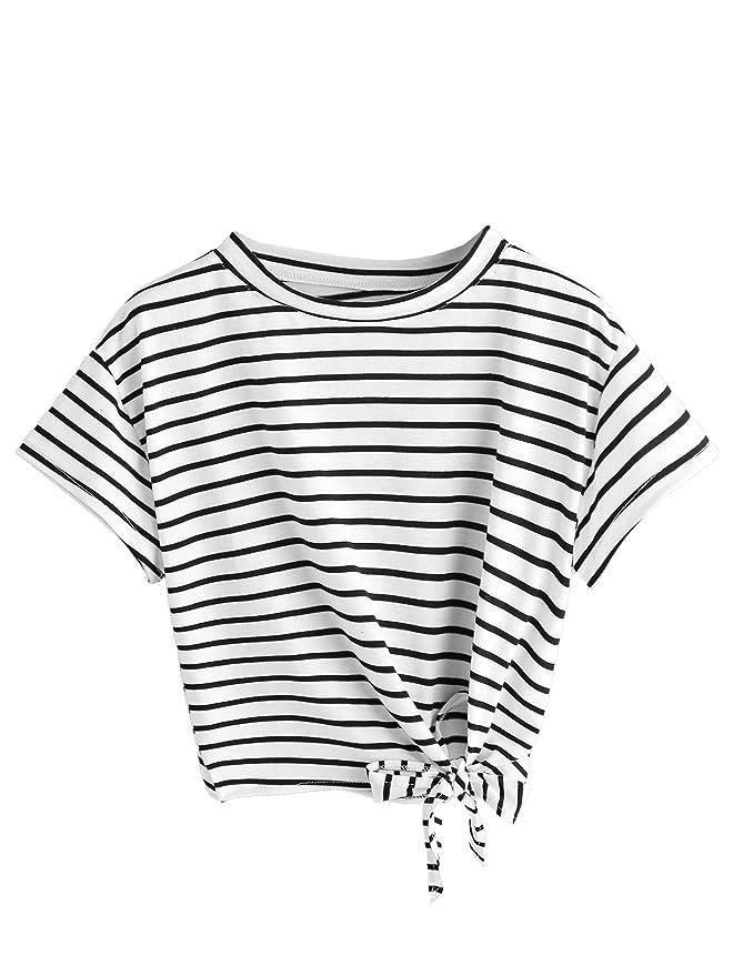 SweatyRocks Women's Loose Short Sleeve Summer Crop T-shirt Tops Blouse White Black M Best Crop Tops