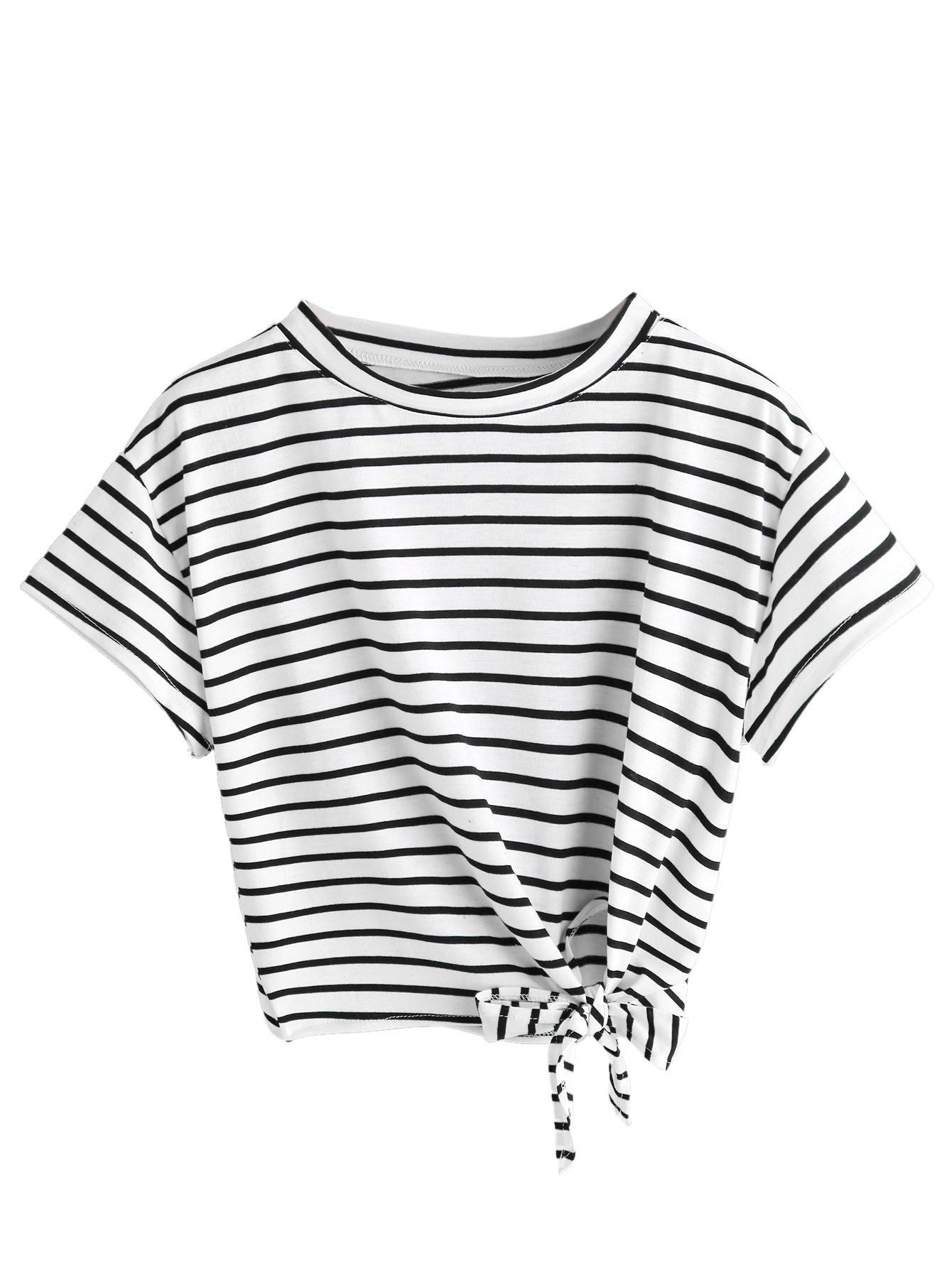 SweatyRocks Women's Loose Short Sleeve Summer Crop T-shirt Tops Blouse White Black S