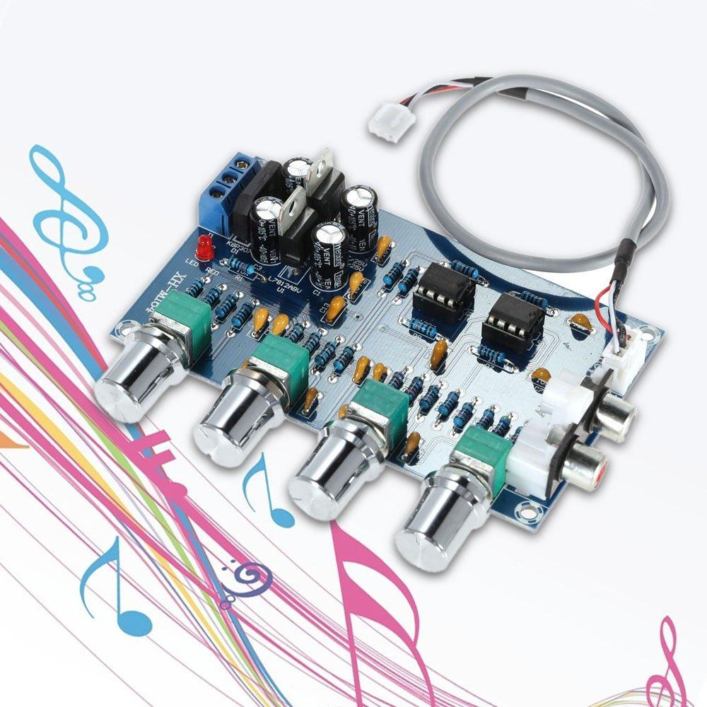 WINGONEER NE5532 Stereo Pre-amp Preamplifier Tone Board Audio 4 Channels  Amplifier Board