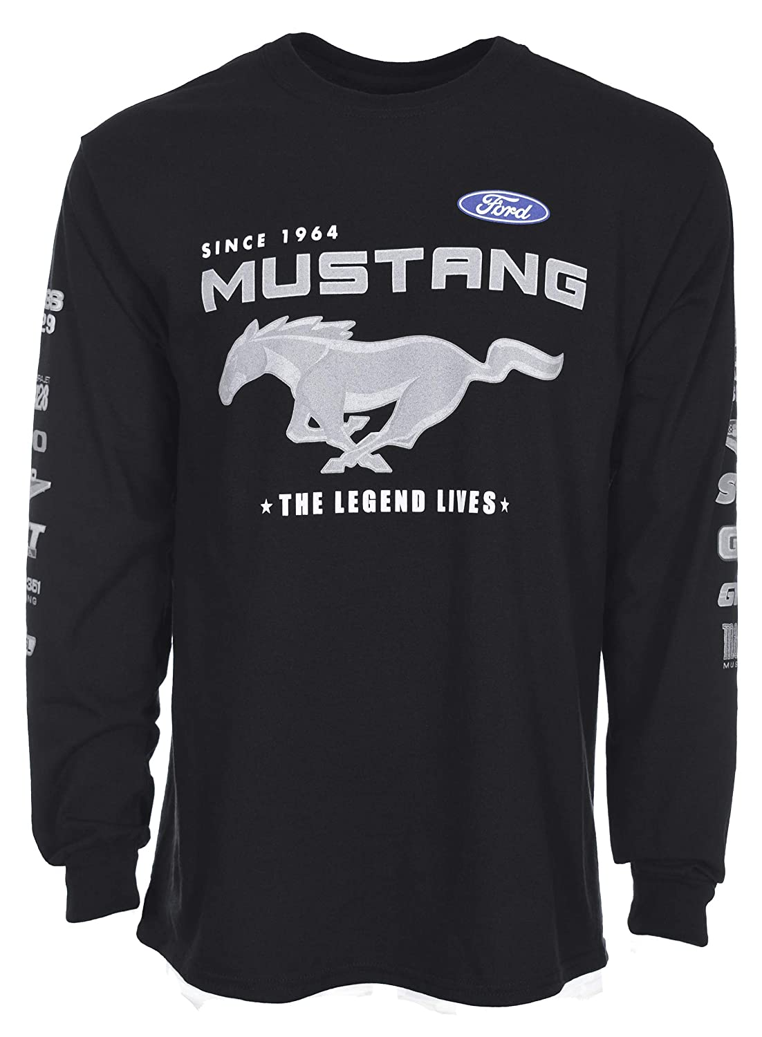 JH DESIGN GROUP Mens Ford Mustang Long Sleeve Crew Neck T-Shirt Front Back /& Sleeve Logos