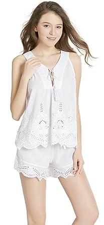 4ba15892c Pure Cotton Women Pajamas Set - Camisole V Neck Pajama Shorts for Women, Lounge  Sleepwear