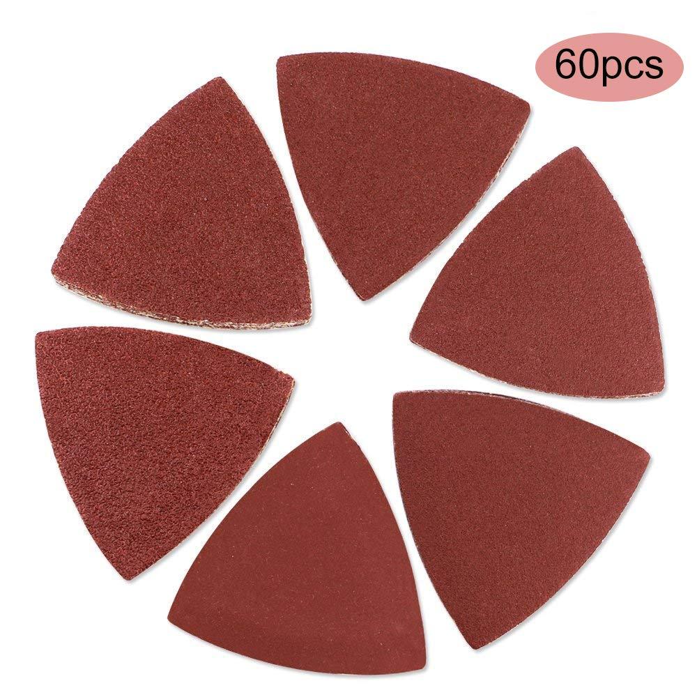Zeagro Lot de 60 Feuilles de Papier de Verre triangulaires pour ponçage du Bois Oscillant