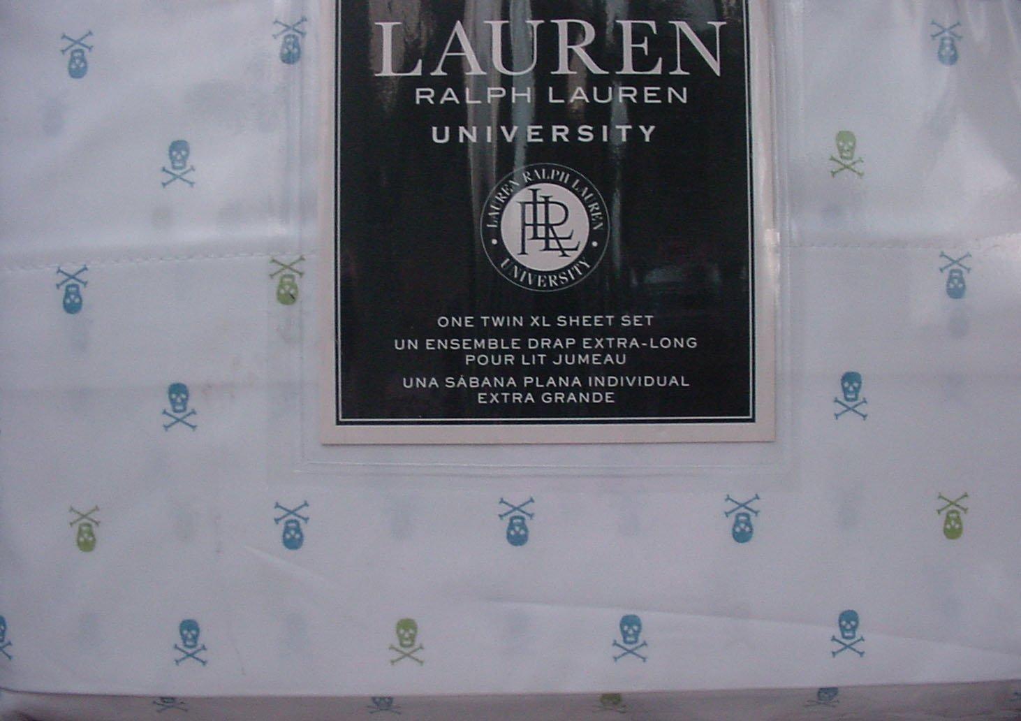 Ralph Lauren University Blue and Green Skulls and Crossbones on White Sheet Set Twin XL