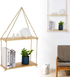 BLUU Bamboo Hanging Shelves for Wall 2 Tier Swing Rope Plant Shelf Indoor Floating Shelves for Bedroom Wall Decor Living Room Kitchen Bathroom Farmhouse with 2 Hooks(2 PCS)