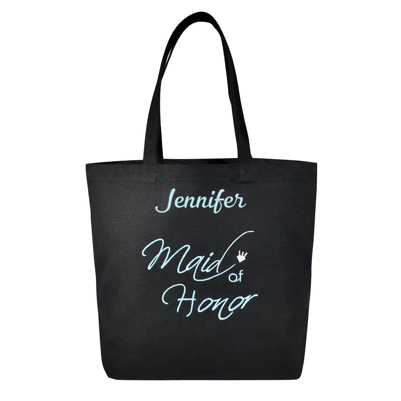 PERSONALIZED Aqua Embroidered Maid of Honor Tote Wedding Gift Black Shoulder Bag 100% Cotton by ElegantPark
