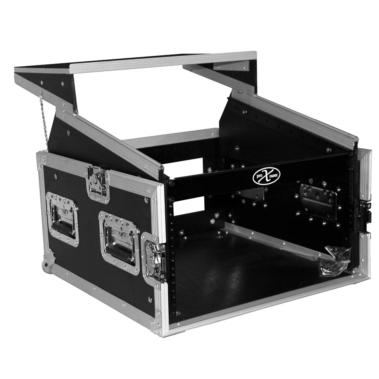 ProX Cases T-6MRLT 6 Space 10U Top Load Slant DJ Mixer Flight Road Gig Ready Combo Rack w/Gliding Laptop Shelf