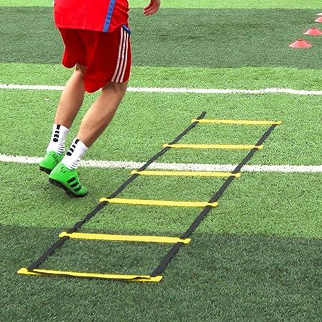 Xin El Deporte de la Agilidad Velocidad de Salto de Escalera Ritmo de Entrenamiento de fútbol de Entrenamiento Cuerda de Salto de celosía Escalera de Formación de Velocidad Flexibilidad: Amazon.es: Deportes y