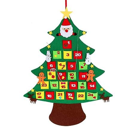 Manualidades Para Regalar A Ninos En Navidad.Kefan Conjunto De Arbol De Navidad De Fieltro 0 9 M De Alto Para Colocar En Pared Con Adornos Regalo Navideno Para Ninos Manualidades Para