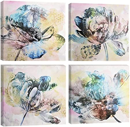 Wall Art For Kitchen Watercolor Mason Jar Floral Wall Decor Bathroom Bedroom Decor Prints Canvas Wall Art Small Framed Artwork For Walls Vintage Paintings On Canvas Prints Blue Flower 12x16inch Posters