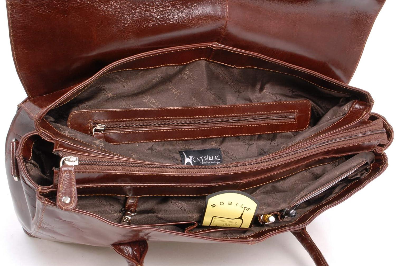 91360bfb81dab Catwalk Collection Handbags - Leder - Übergroße Laptoptasche Schultasche  Organizer Arbeitstasche Aktentasche für Damen - Laptop iPad - Handtasche  mit ...